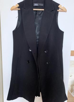 Zara 36 s жилетка синяя стильная классика
