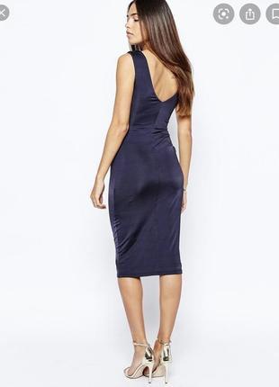 Платье миди warehouse темно-синего цвета