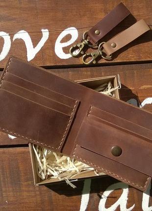 Компактный кожаный кошелек. коньячный. ручная работа