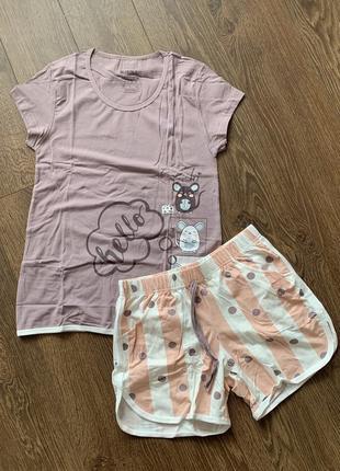 Пижама женская, пижама шорты и футболка, летняя пижама с шортами