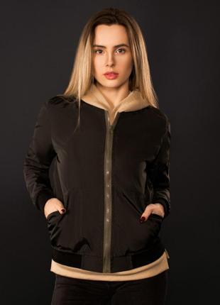 Женский бомбер куртка воротник стойка