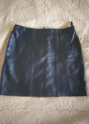 Кожанная юбка мини