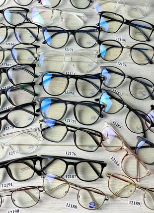 Имиджевые очки в черной оправе ( антиблик ) разной формы в наличии