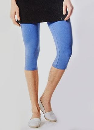 Леггинсы (капри) женские, размер s/m, цвет голубой
