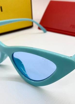 Fendi очки женские солнцезащитные бирюзовые  глянцевые кошечки