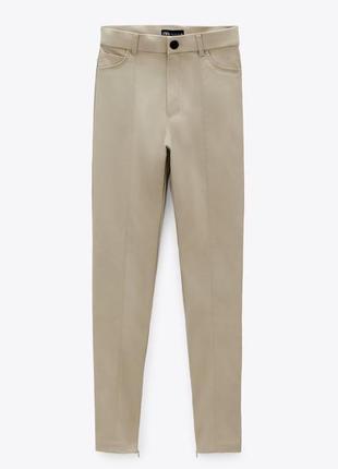 Кожаные штаны zara легинсы zara с высокой посадкой / лосины zara
