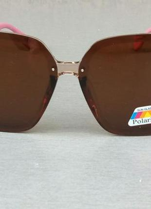 Fendi очки женские солнцезащитные большие коричневые с розовым поляризированые