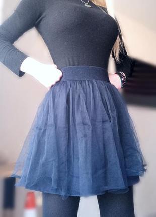 Фатиновая школьная синяя юбка