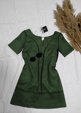 Платье мини, экозамша, вечернее платье, платье а рюши, платье в цветочек