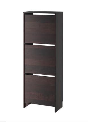 Галошница,3 отделения, черный, коричневый, 49x135 см