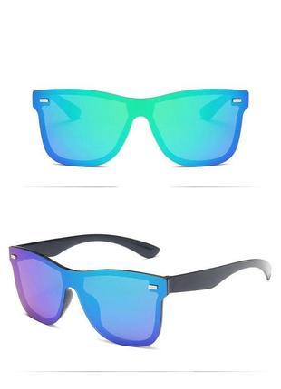Стильные прямоугольные очки без оправы синие