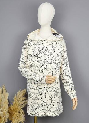 Молочное худи платье с принтом дисней бемби на флисе