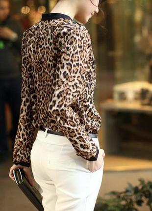 Женская блузка леопардовая с длинным рукавом