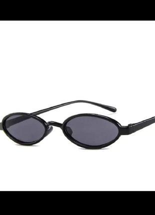 Стильные чёрные узкие овальные очки