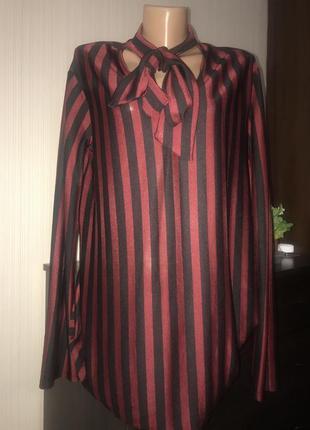 Блуза кофта в полоску и бантом на шее zara