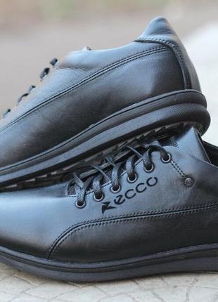 Кожаные туфли-кроссовки ecco, чёрные.