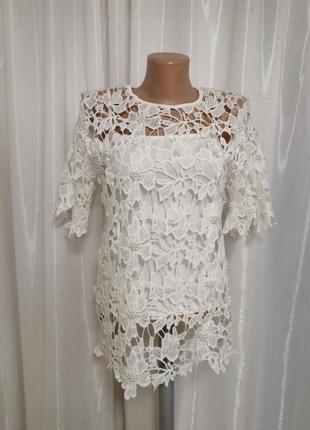 Кружевная блуза стрейч гипюр  с жемчужинами