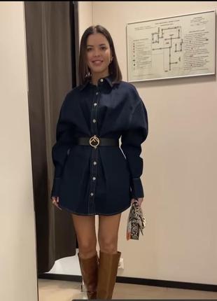 Очень крутое плотное джинсовое платье с объёмными рукавами