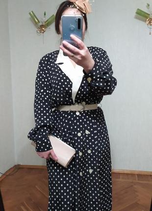 Платье халат в горошек винтаж
