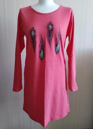 Домашнее платье, одежда для дома и сна ночная рубашка с длинным рукавом