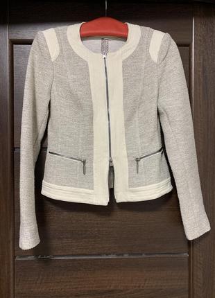 Твидовый пиджак жакет на молнии airfield куртка бомбер