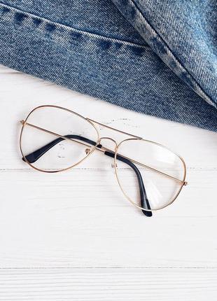 Новые имиджевые очки в золотистой металлической оправе