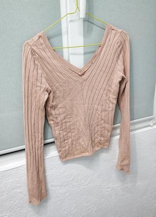 Интересная кофта, блуза трикотажная в рубчик, с глубоким вырезом, нюд