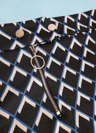 Юбка dorothy perkins на молнии и кнопках в ромбик чёрная