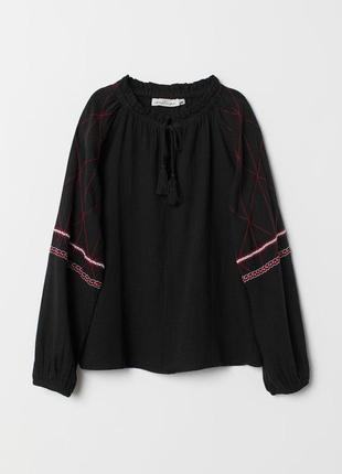 H&m-хлопковая блуза с вышивкой! р.-36