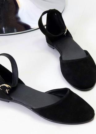 Очаровательные черные женские закрытые босоножки натуральная замша