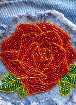 Шорты джинсовые (американки) вышивка роза