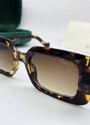 Gucci женские солнцезащитные очки прямоугольные леопардовые, очки женские gucci
