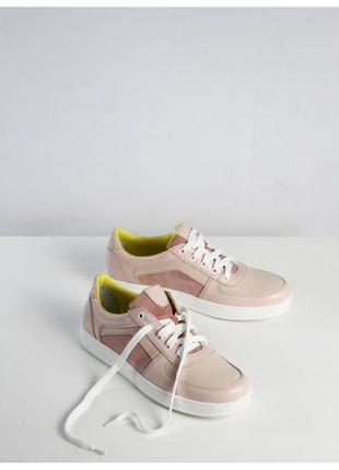 Женские кеды розовые кроссовки кожаные замшевые стильные натуральная кожа замша