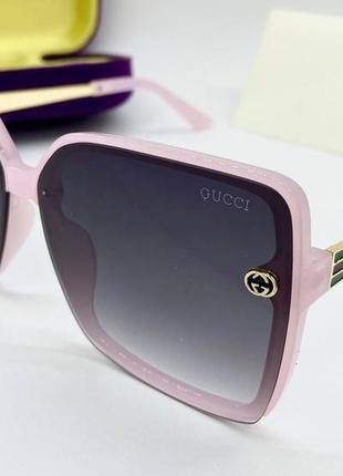 Gucci женские солнцезащитные очки квадраты розовые, очки женские gucci