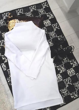 Оверсайз трикотажное платье туника мини белое на флисе платье-худи1 фото