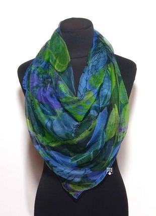 Тончайший шелковый газовый платок хустка 100% шелк синий зеленый новый качественный