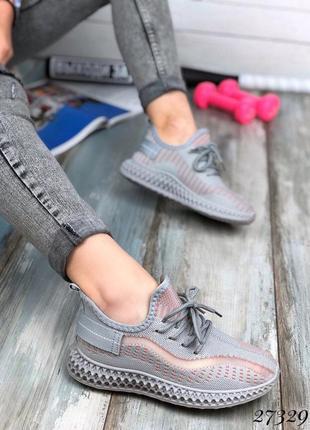 Распродажа! серые текстильные легкие кроссовки 36,37