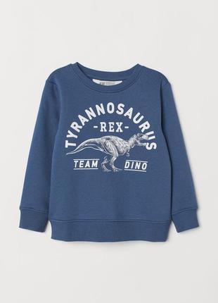 Стильный утепленный свитшот, толстовка, кофта с динозавром на мальчика р. 110-116, h&m