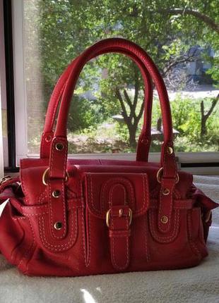 Кожаная сумочка next красного цвета