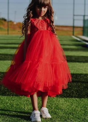 Детское нарядное платье красного цвета мия