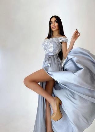 Платье макси серое с кружевным верхом длинное вечернее меланж графит