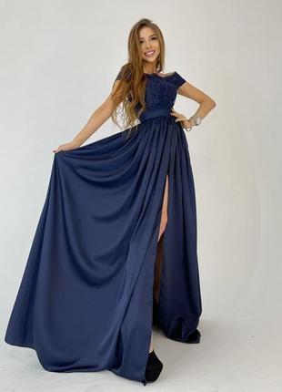 Платье синее макси с разрезом кружевным верхом вечернее