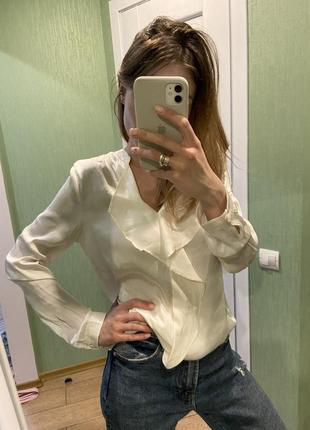Сатиновая блузка рубашка с v-вырезом под шёлк