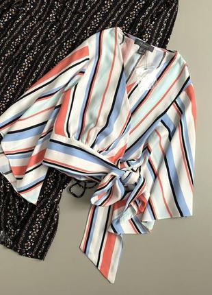 Шикарная блуза на запах с завязками, блуза в полоску на пояс с расклешенными рукавами