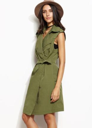 Классный льняной жилет-платье