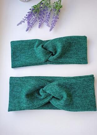 Комплект повязка чалма трикотаж ангора софт фемели лук повязки мама дочка