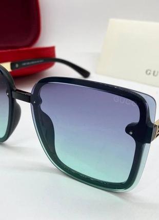 Gucci очки женские солнцезащитные бирюзовые  квадраты с градиентом