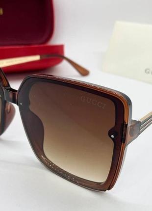 Gucci очки женские солнцезащитные коричневые квадраты с градиентом