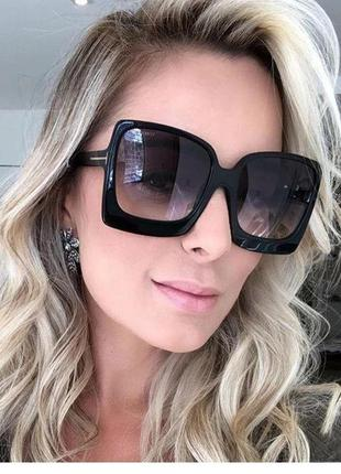 Стильные крупные квадратные очки чёрные