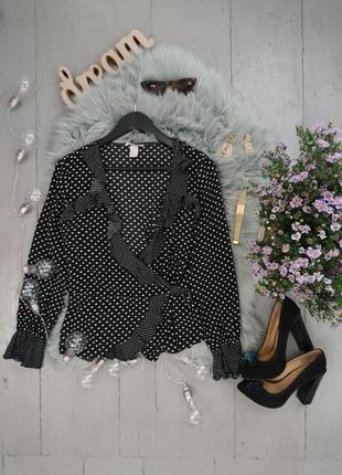 !!!распродажа!!!актуальная блуза на запах в горох №15max.